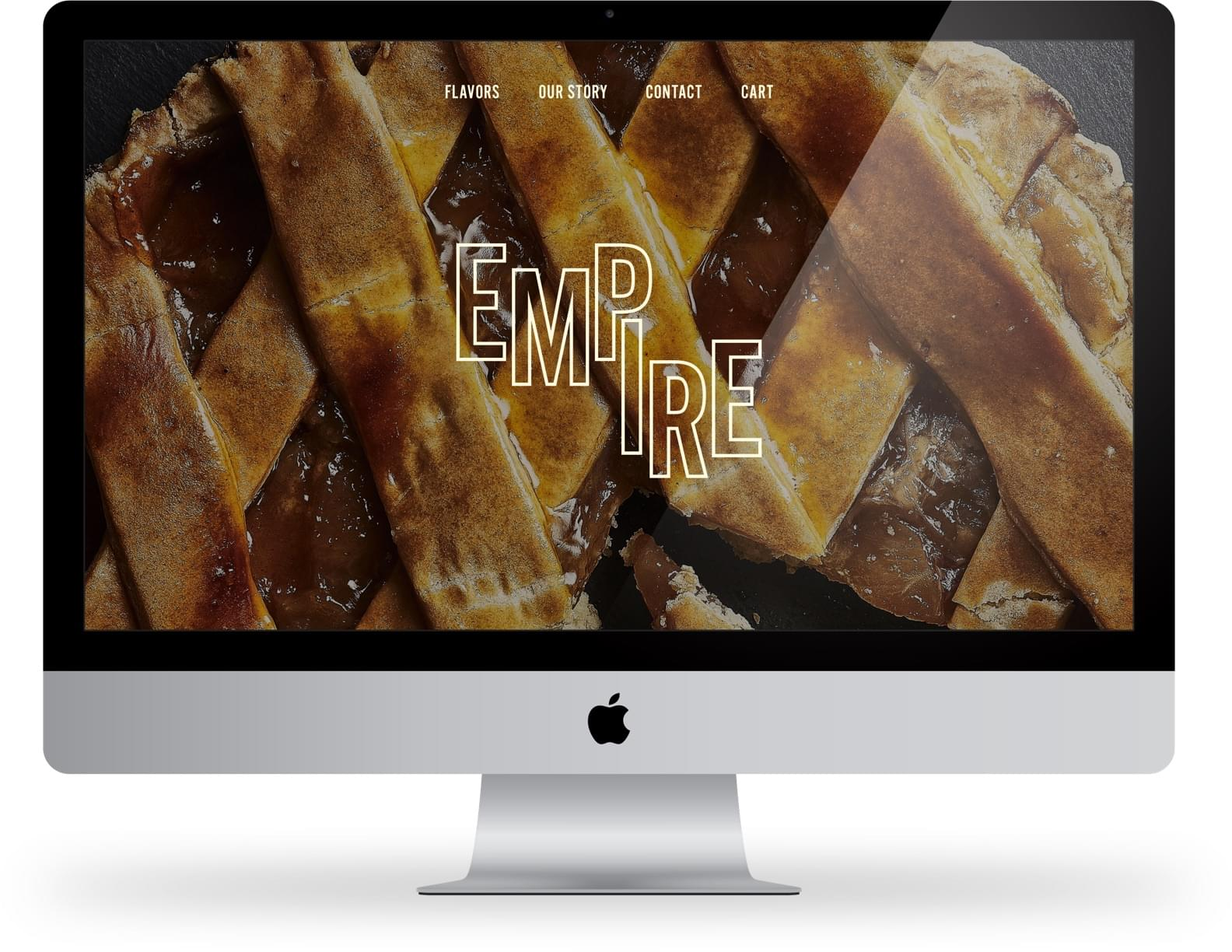 A large image of the homepage for Empire Pies. The website shows a large pie in the background with the Empire logo on top.