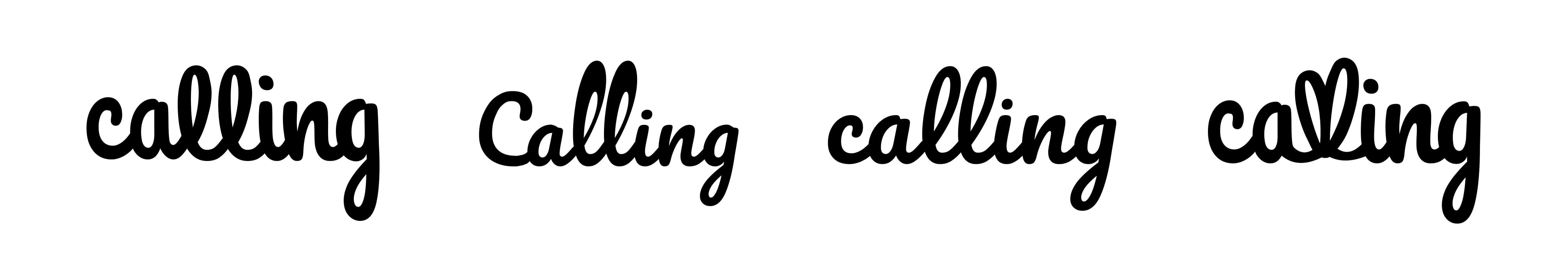Four different version of the Calling logo is displayed in both black and grey. The logos show looping L's and L's that are shaped like a heart.