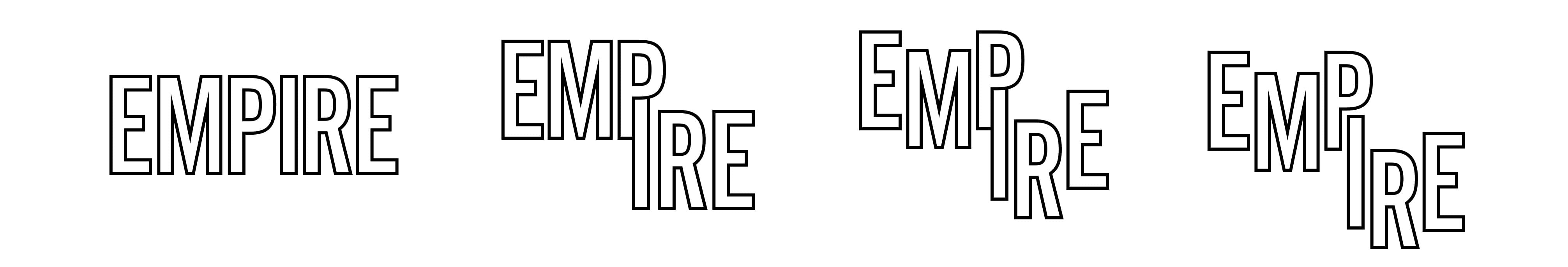 A series of logos for Empire that show a variety of block text with a black outline.